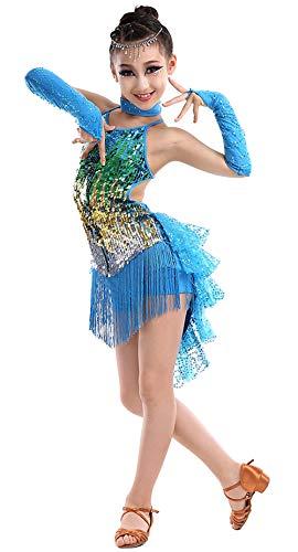 HAPPY CHERRY Mädchen Tanzkleid Latein Kleid Pailletten Gesellschaftstanz Kleider Set Kinder Dancewear-Blau-130cm