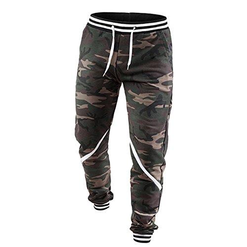 Longra Pantalón de Camouflage, Moda Casual Chandal Aptitud Rutina de Ejercicio Joggers Gimnasio Al Aire Libre Pantalones Deportivos Ropa Deportiva para Hombres (Camuflaje, M)