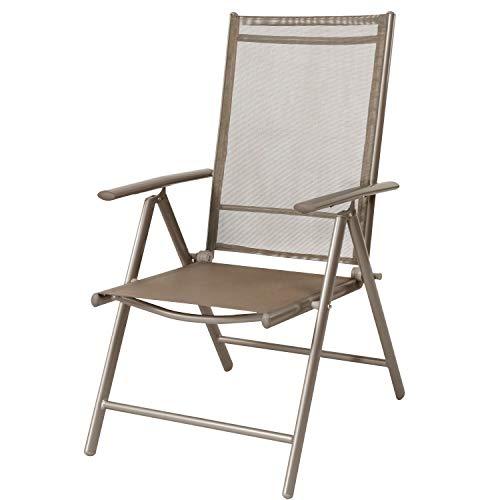 FineHome Gartenstuhl - Positionsstuhl - Hochlehner 7-Fach verstellbar - zusammenklappbar - Klappstuhl - witterungsbeständiges Aluminium - Champagner