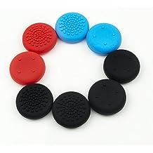 Thumb Grips Pulgar Grip para Nintendo Switch (Pack de 8) - 4 Negro, 2 Rojo, 2 Azul