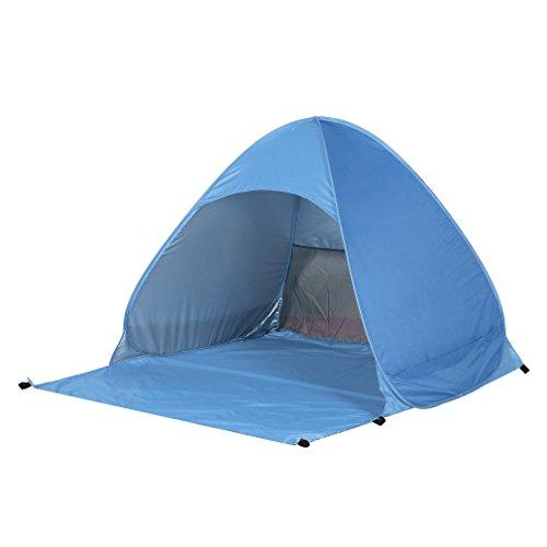 Poncherish Strandzelt, Pop-up,Outdoor Beach Tent Portable Wurfzelt,Leicht Automatik Strandmuschel mit Boden Sonnenschutz UV-Schutz, für Familien Aktivität, Outdoor, Strand(Blau)