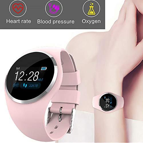 Fitness Tracker, Q1rotonda di alta qualità Bluetooth LCD color monitor pressione sanguigna sonno passi calorie record fitness tracker sport braccialetto intelligente Taglia libera rosa