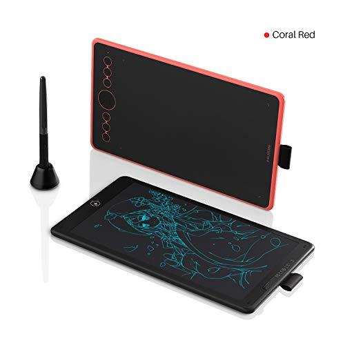 HUION Inspiroy Ink H320M(korallrot Grafiktablett mit Mehrzweckfunktion und LCD-Schreibtablett, Unterstützung von ± 60 ° Neigungsfunktion, kompatibel mit Windows, MacOS und Android