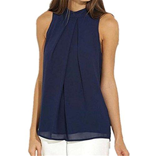 Sannysis Damen Chiffon Bluse Ärmellos T-Shirt Sommer Bluse Tops (L, Blau)