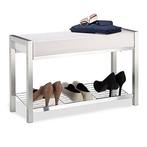 Relaxdays 10021256_49 panca imbottita con porta-scarpe, metallo, bianco, 31x80x47 cm
