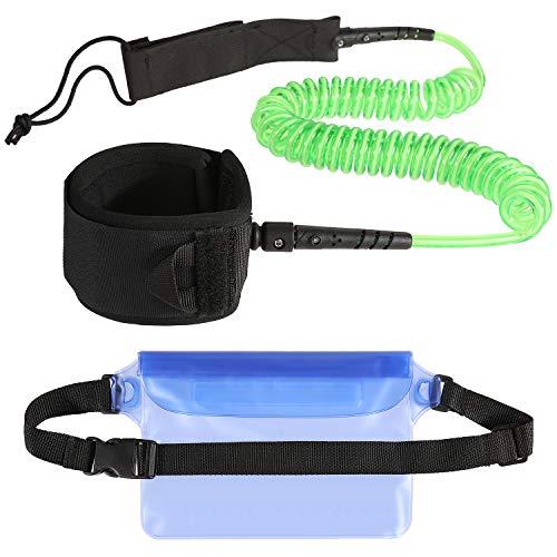 Zacro Surfboard Leash 7mm 10 Füße TPU Paddle Leash mit wasserdichte Tasche für Geld Smartphones
