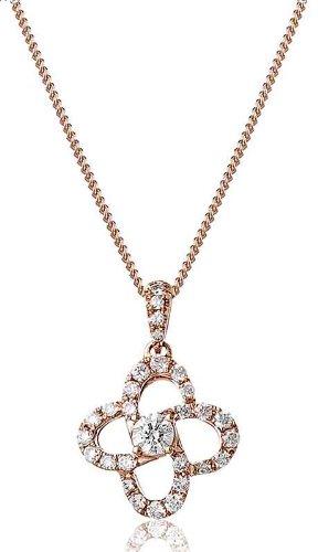 0.25ct Taglio Brillante Rotondo Certificato G/VS2Centro a forma di fiore collana di diamanti in oro rosa 18K