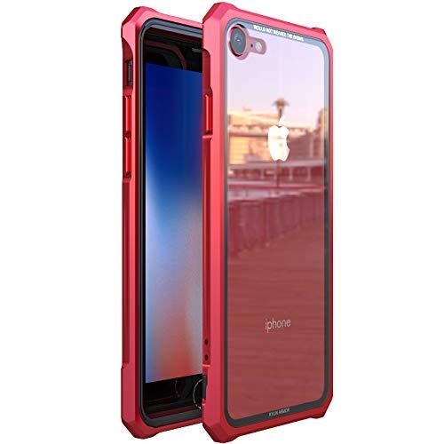 GoGu Case Für iPhone 7 / iPhone 8 Schnallenart Anti-Fall-Enge 3-in-1-transparente Farbe gehärtetes Glas Rückseite + Metallrahmen Hartschale zurück (Farbe : Rot, Size : iPhone 8)