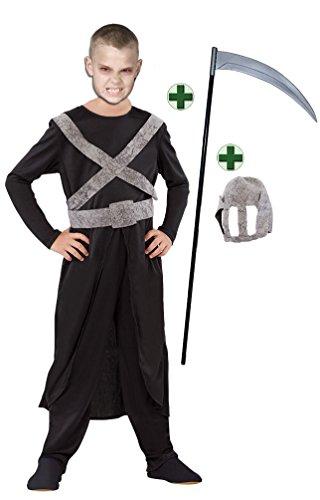 Karneval-Klamotten Sensenmann Kostüm Kinder Gevatter Tod Kinder-Kostüm Henker Horror Kind Horror-kostüm Halloween Jungenkostüm