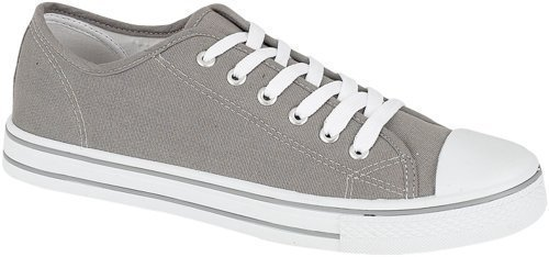 Mens Canvas Shoes - Plimsolls - Pumps - Trainers (10, Grey)