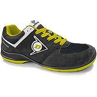 Dunlop DL0201038-45 Zapato, Piel de Ante y Mesh Negro y Amarillo 45