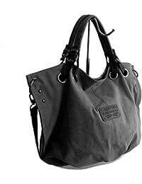Lässige Canvas Tasche von Bag Street , Damentasche Shopper Umhängetasche Vintage Handtasche Schultertasche - Baumwollstoff Segelstoff ( Farbauswahl ) - präsentiert von ZMOKA®