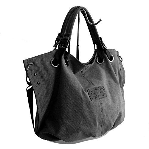 Lässige Canvas Tasche von Bag Street , Damentasche Shopper Umhängetasche Vintage Handtasche Schultertasche - Baumwollstoff Segelstoff ( GRAU ) - präsentiert von ZMOKA® (Handtasche Leder Tasche Elfenbein)