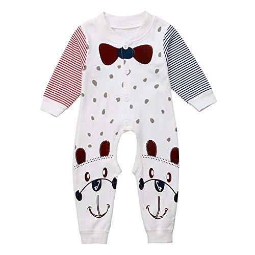 Neugeborenes Baby Mädchen Hund Print Stripe Strampler Overall Outfits Set