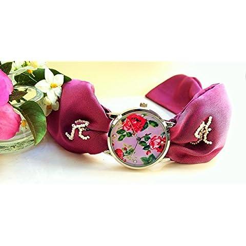 Orologio Ornamentale Rosa Donna con Quadrante Rotondo con i Fiori Bracciale Floreale Pink