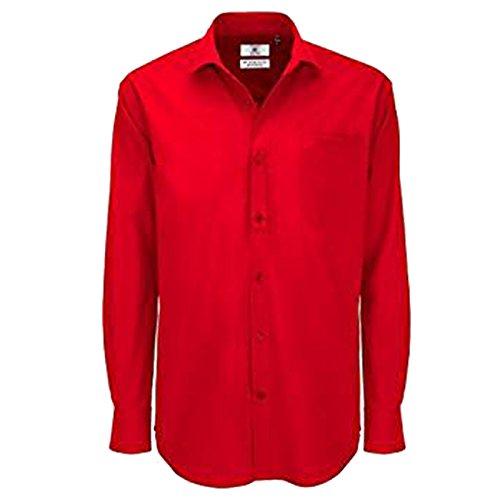 B&C Collection Herren Modern Business-Hemd Gr. L, dunkelrot (Mens L/s Oxford Plaid Hemd)
