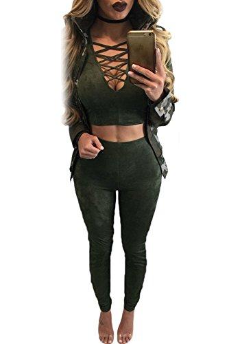 Faux 2 Stück Top (Damen DARK grün Faux Suede 2Stück Bauchfreies Top Pant Set Jumpsuit Catsuit Clubwear Kleidung Größe M UK 10–12EU 38–40)