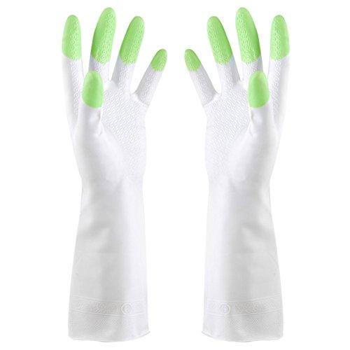 andyshi wiederverwendbar Wasserdicht strapazierfähiges Haushalt antibakteriell rutschfesten PVC-Handschuhe Latex für Küche Dish Wäschekorb Reinigung, grün (Strapazierfähiger Latex-handschuhe)