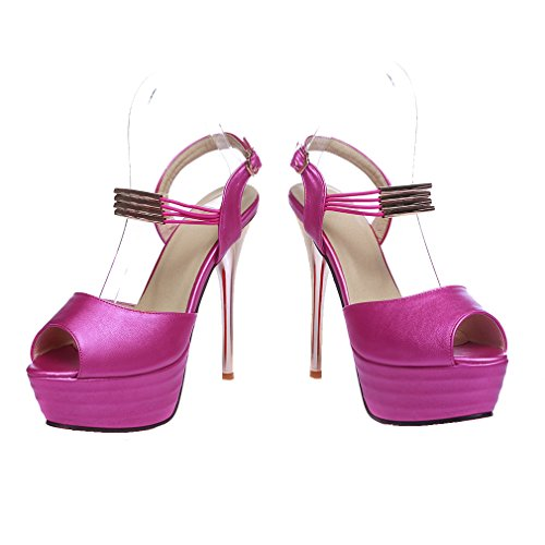 YE Damen Riemchen Peep Toe Stiletto High Heel Plateau Sandalen mit Schnalle Party Elegant Schuhe Rose