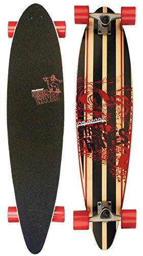 Nijdam Longboard Pintail Street Waves, Schwarz/Rot, One Size/39 Zoll