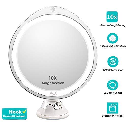Hook Kosmetikspiegel 10-fach mit Licht, Schminkspiegel LED Beleuchtet mit Vergrößerungsspiegel 10fach und Saugnapf, 360° Schwenkbar, Led Spiegel mit Blendfreier Beleuchtung für Zuhause und Unterwegs