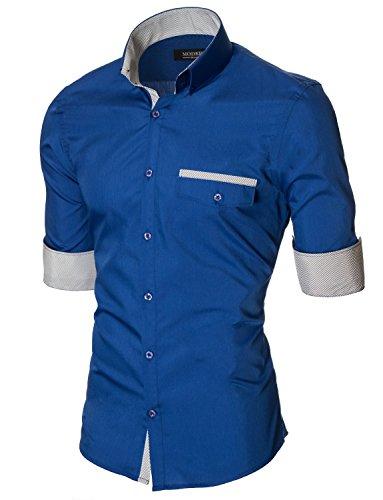Herren Hemd Slim Fit Freizeithemd Langarm von MODERNO (MOD1413LS) MOD1413LS-Blau