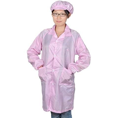 Sourcingmap - Las mujeres collar de punto rosa sala limpia bata bata esd antiestático w cap m