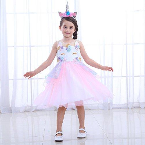 LZH Unicornio Vestido de Fiesta Niñas Cosplay Cumpleaños Vestido de Princesa
