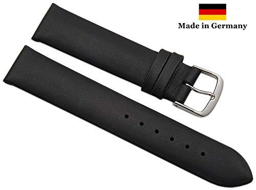 19mm Pelle di vitello cinturino per orologio Made in Germany in negro con fibbia in argento MJ-Design-Germany incl. myledershop istruzioni di montaggio