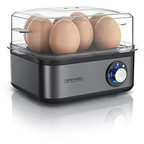 Arendo - Eierkocher Edelstahl für 1 bis 8 Eier - Egg Cooker - 500 W - Kontroll Leuchte - Drehregler für drei Härtegrade - spülmaschinengeeignet | Cool Grey