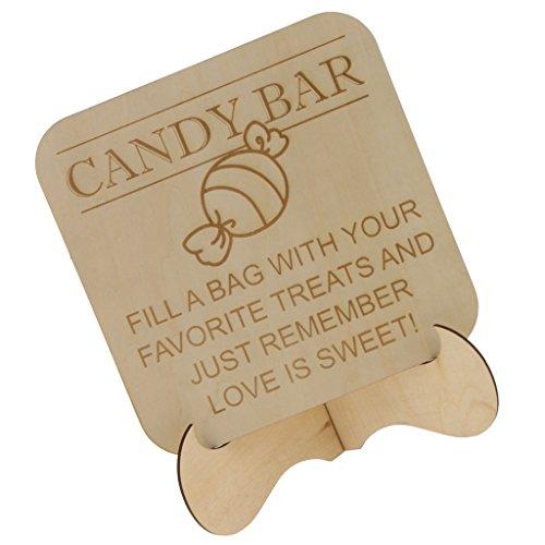 Fenteer DIY ''Candy Bar'' Hochzeit Zeichen Party Tischdekoration Geburtstag Tisch Schilder, aus Holz Holz Candy