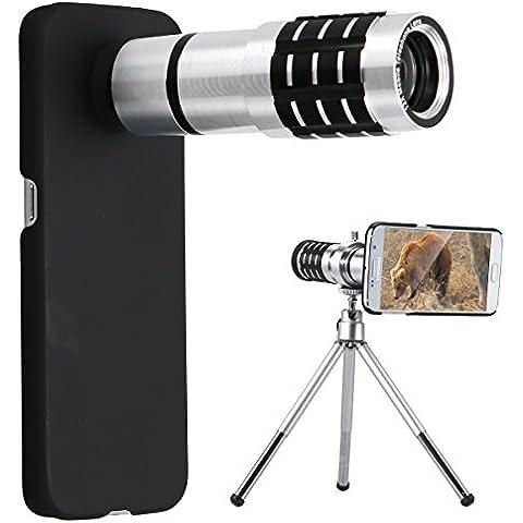 XCSOURCE® Lente Telefoto Zoom Óptico 12 x Para Lentes Cámara Telescópica Teléfono Móvil Samsung Galaxy S6 Edge Con Mini Trípode y Carcasa DC603