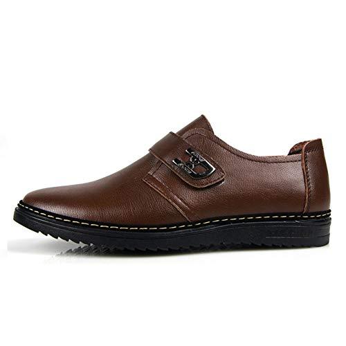 LXYIUN Freizeitschuhe für Herren,Einzelne Schuhe Formell tragen Lackleder britischer Stil Gezeiten Schuhe,Brown,39 -