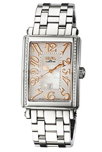 Gevril de la mujer 9249reb Avenue Ladies Midsize acero caso blanco Dial Rose banda de acero números reloj.