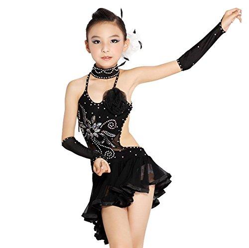 Byjia Mädchen Mesh Diamant Schwarz Gelb Latein Tanzkleid . Black . (Halloween Tänzer Kostüme Ballsaal)