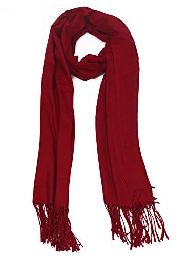 DEBAIJIA Bufanda acogedora Super suave Smooth Pashmina Cold Protection Stole Chal lana de cachemira para mujeres,extra grande 200x70cm Elegante elegante wrap Wass para todas las estaciones Vino tinto