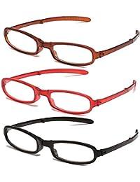 3 Packs pieghevole occhiali da lettura pieghevole anziani occhiali piegare presbiopia occhiali da vista compatto + 1,0 a + 4.0 grado optometrista consiglia di ridurre l'acuità visiva declino,+2.00D