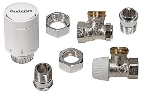 Buderus Thermostatkopf Set mit Heizkörperverschraubung Eckform für C/CV Heizkörper