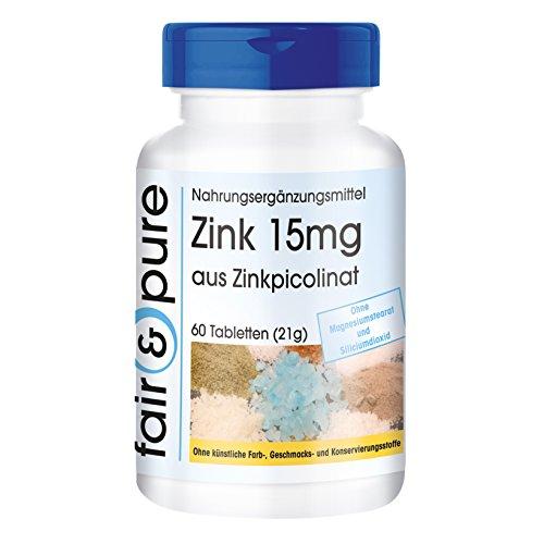 Zink 15mg (Elementargehalt) aus Zinkpicolinat, vegan, ohne Magnesiumstearat, 60 Zink-Tabletten, essentielles Spurenelement