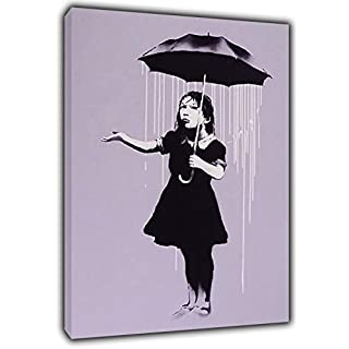 Banksy NOLA Paint Under RAIN Reprint ON Framed Canvas Wall Art Home Decoration 16'' x 12'' inch -38mm Depth