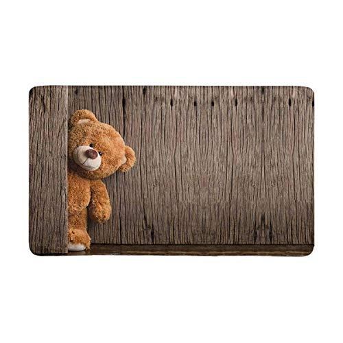 Soefipok Süße Teddybären mit Alter Holz-Fußmatte Rutschfeste Eingangsmatte Bodenbelag Innen/Außen/Vordertürmatten Wohnkultur, Gummiunterlage