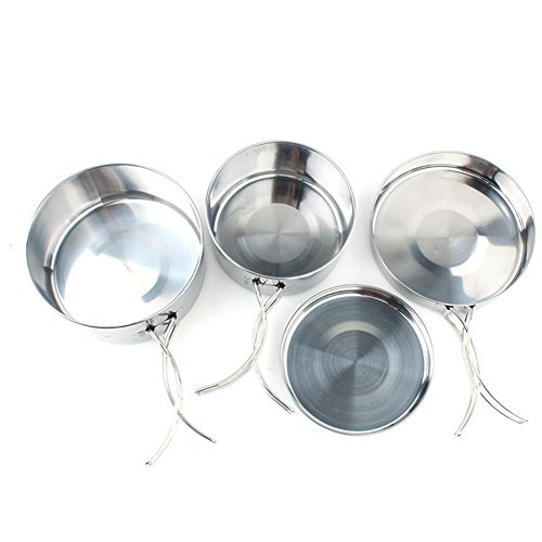 AchidistviQ 4Pcs Stainless Steel Deep Large Pots Bowls Frying Pan Cover Kitchen Cookware Set