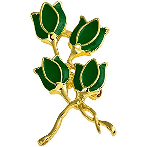 AnaZoz Joyería de Moda Broche de Mujer Acero Inoxidable Magnolia denudata Broches y Pins Para Mujer Broche de