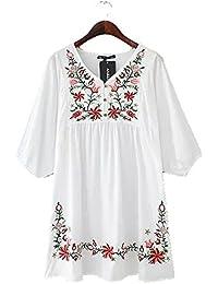 JOTHIN Damen 2017 Bestickt Casual Sommerkleid mit V-ausschnitt Minikleid  Oriental Blumen A-Linie Kleid… b1546b0b8b