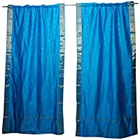 Mogul Interior Blue Sari Curtains Rod Pockets Boho Home Decor Window Treatment Drapes 96x44