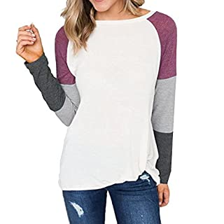 SuperSU Damen Long Sleeve Pullover Damen Casual Tops Baseball Patchwork Sweatshirt Bluse Lange Ärmel Elegant Lose Top Kurz Sweater Bewässerungscomputer Lila/Rosa / Orange