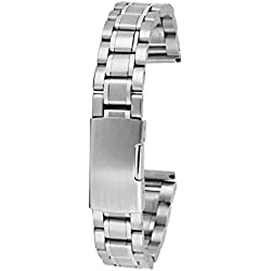 Phenovo Stainless Steel Watch Strap Band Straight End 16mm Silver