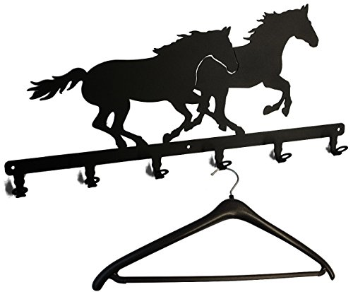 Wandgarderobe - Rennpferde - 58 cm - Flurgarderobe - Garderobe - Pferde Motiv - Metall - schwarz - TOP