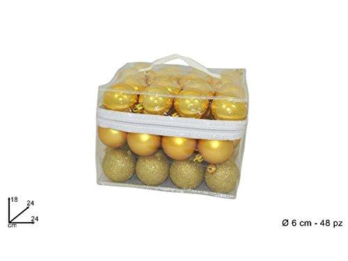 Box 48 palline 6 cm color oro opache lucide e con glitter #pi 8033113418471