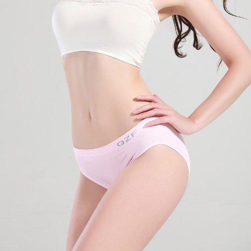 Unterhosen Unterwäsche Bambusfaser Damen Taille Sexy Slip, schwarz Greatlpk Pink